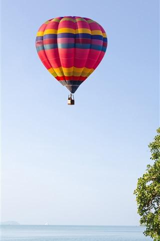 iPhone Wallpaper Sky, hot air balloon, palm trees, beach, sea, summer