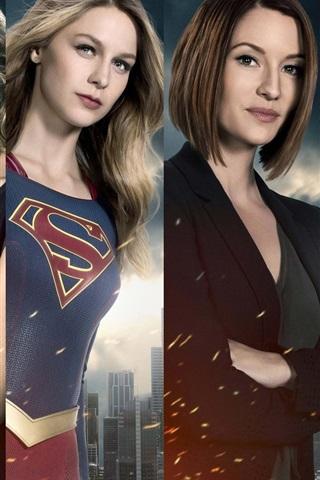 iPhone Wallpaper Supergirl, TV series, actors