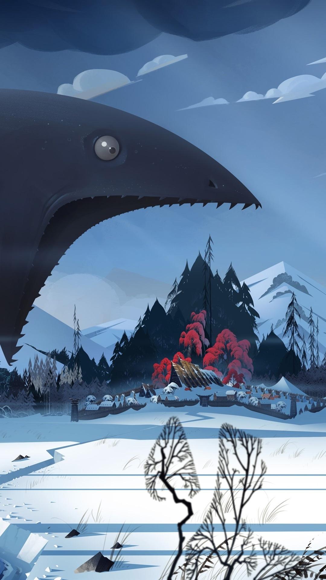 The Banner Saga Video Game Monster Winter Snow Village