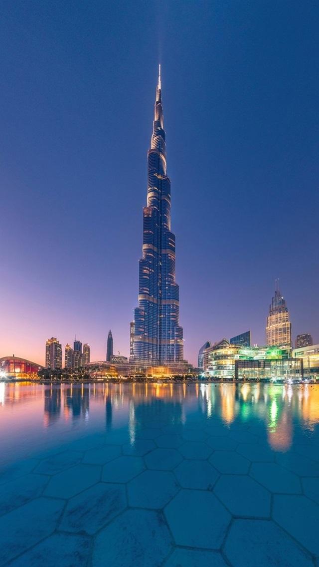 Uae Dubai Burj Khalifa City Water Skyscrapers Dusk