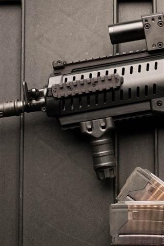 iPhone Wallpaper Weapons, Beretta assault rifle, bullets