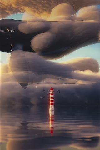 iPhone Wallpaper Whale flying in the sky, clouds, lighthouse, sea, art painting