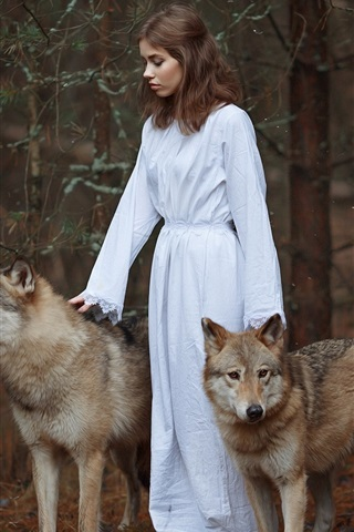 iPhone Wallpaper White dress girl, two wolves