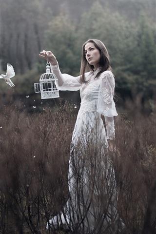 iPhone Wallpaper White skirt girl, bird, bushes