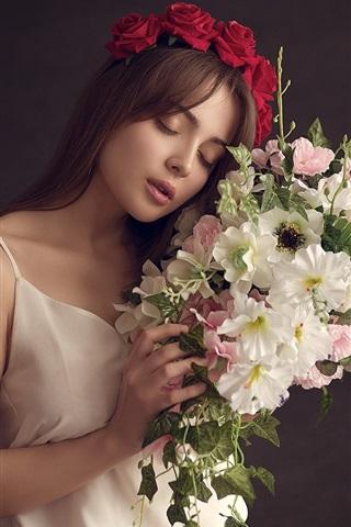 iPhone Wallpaper White skirt girl, mood, flowers, bouquet