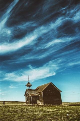 Fonds D Ecran Maison En Bois Herbe Ciel Bleu Nuages