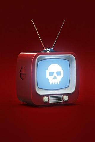 iPhone Wallpaper 3D design, TV, skull, red background