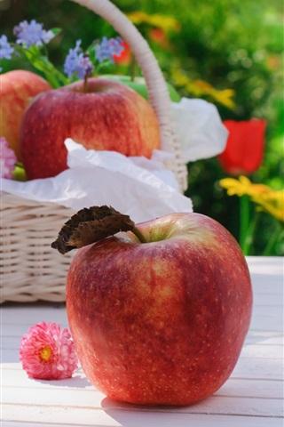 iPhone Wallpaper Apples, flowers, basket