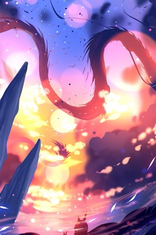 iPhone Wallpaper Art drawing, dragon, sunshine, mountains, leaves