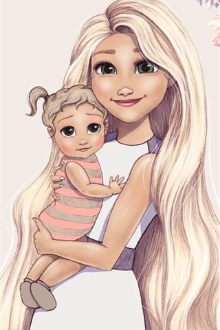 iPhone Wallpaper Art drawing, green eyes girl and baby
