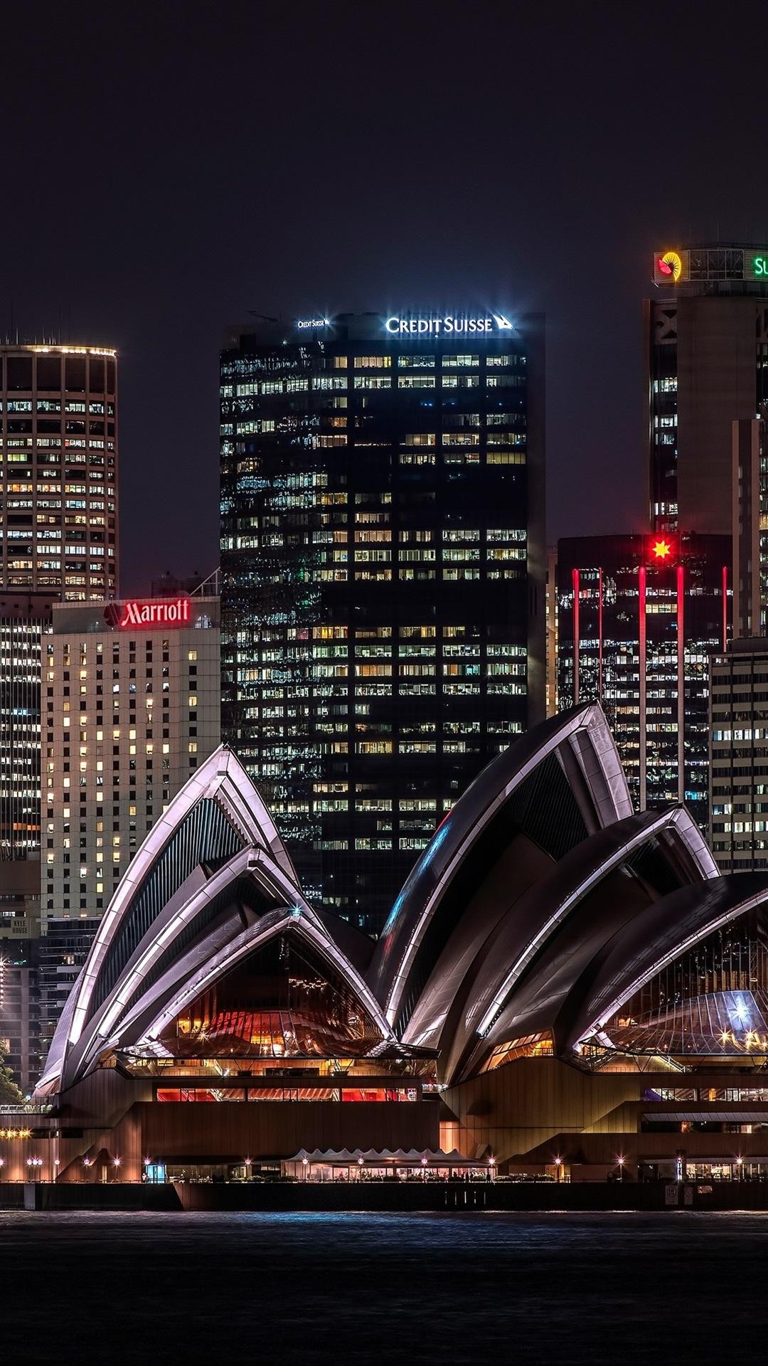 Обои Здание оперного театра в сиднее, ночь. Города foto 19