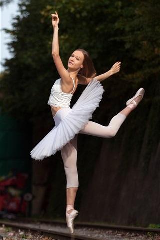 iPhone Wallpaper Ballerina, dancing girl, railroad