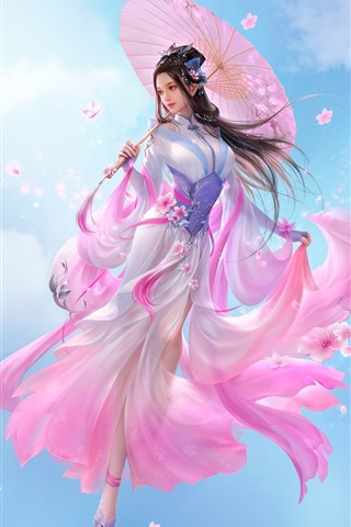 iPhone Wallpaper Beautiful Chinese girl, fantasy, pink skirt, retro style, umbrella