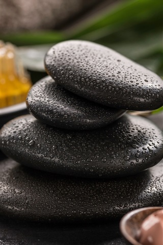 iPhone Wallpaper Black stones, water droplets, SPA theme