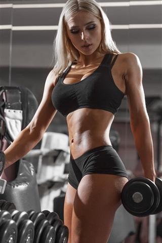 iPhone Wallpaper Blonde girl, fitness, dumbbells, gym