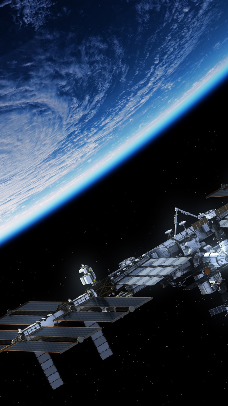 Wallpaper blue planet satellite space station 3840x2160 - Space 4k phone wallpaper ...