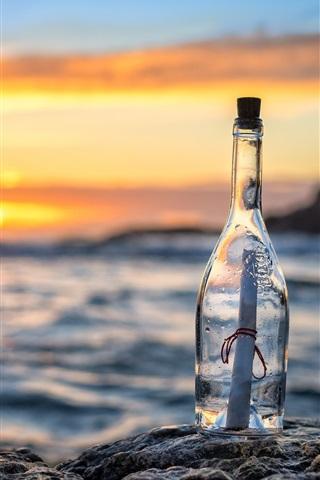 iPhone Wallpaper Bottle, message, letter, sea, sunset