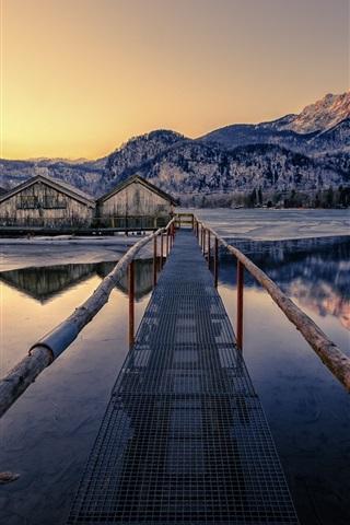 iPhone Wallpaper Bridge, houses, lake