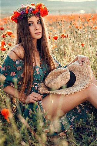 iPhone Wallpaper Brown hair girl, hat, wreath, poppies field, summer