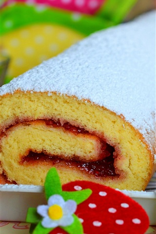 iPhone Wallpaper Cake roll, powder, strawberry decoration