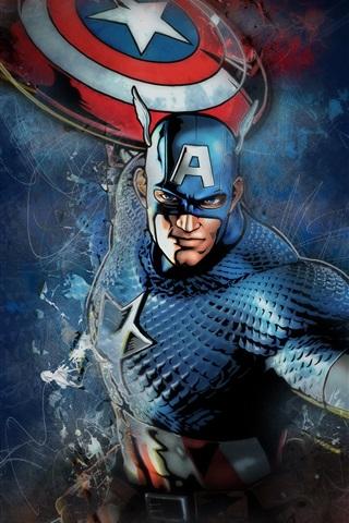 iPhone Wallpaper Captain America, shield, mask, Marvel comics, art picture