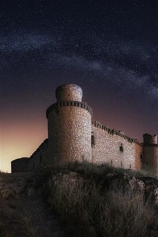 iPhone Wallpaper Castle, night, starry