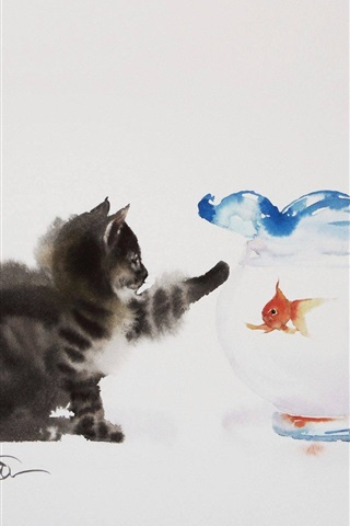 iPhone Wallpaper Cat and goldfish, watercolor painting
