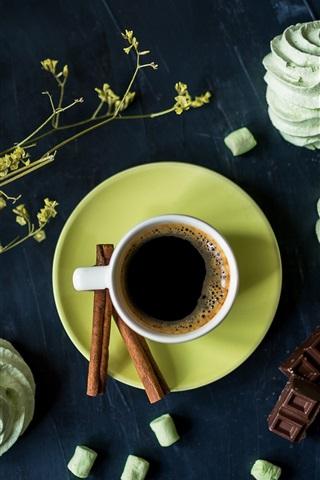 iPhone Wallpaper Coffee, cakes, flowers, chocolate
