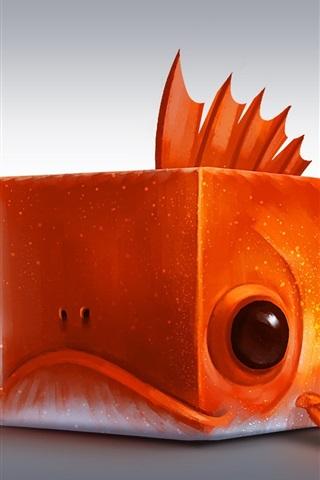 iPhone Wallpaper Cube fish, orange, creative design