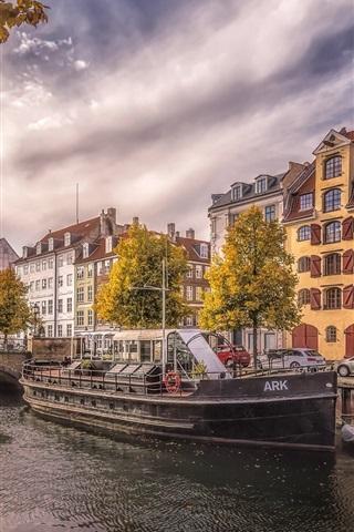 iPhone Wallpaper Denmark, Copenhagen, river, city, ships, cars