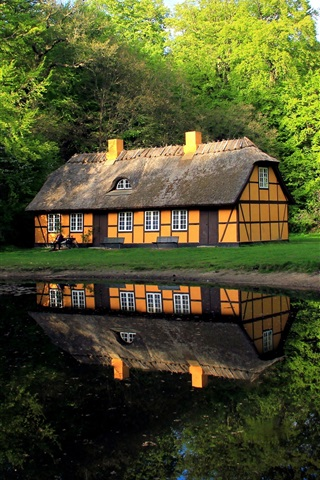 iPhone Wallpaper Denmark, house, lake, trees