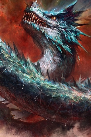 iPhone Wallpaper Dragon, eye, fantasy art