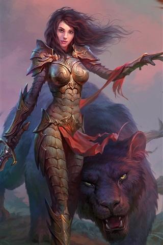 iPhone Wallpaper Dragons of Eternity, girl, warrior