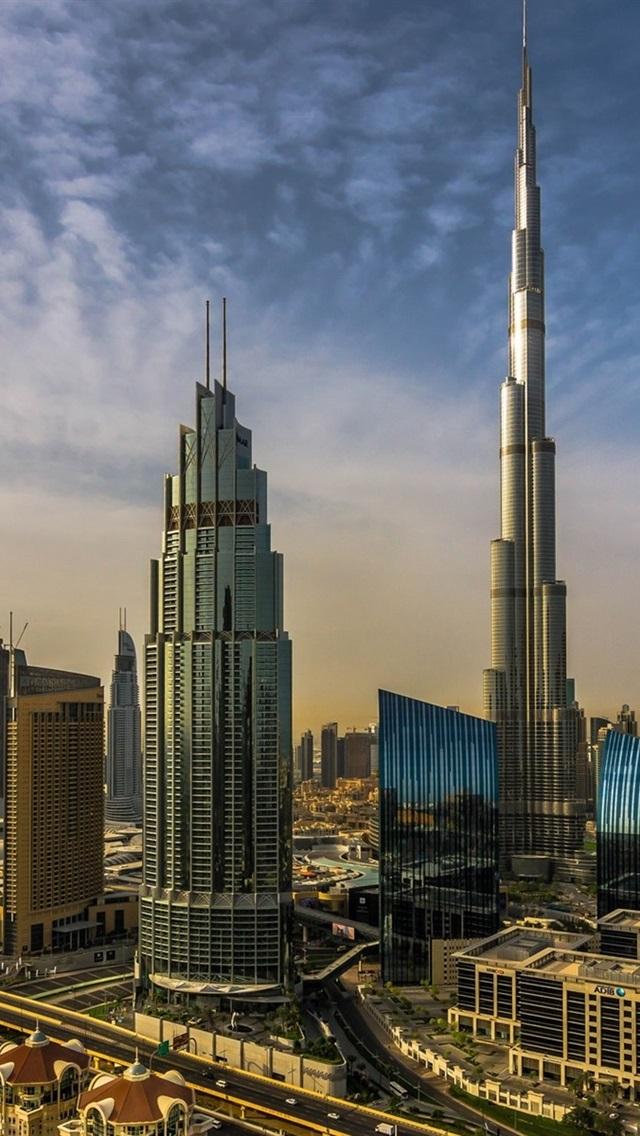 Dubai Uae City Skyscrapers Burj Khalifa 640x1136 Iphone