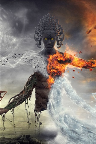 iPhone Wallpaper Fantasy art, monster, fire, burning, water