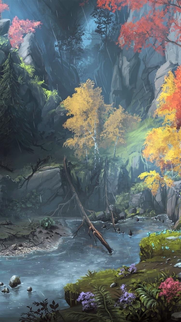 Pintura Del Arte De La Fantasía Montañas árboles Otoño