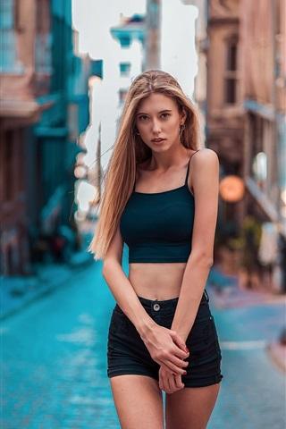 iPhone Wallpaper Fashion blonde girl, shorts, street, summer