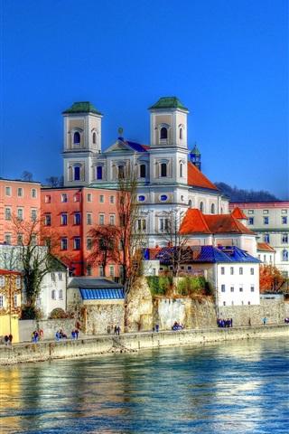 iPhone Wallpaper Germany, Bayern, Passau, river, houses, city