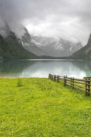 iPhone Wallpaper Germany, lake, mountains, grass, hut, fence, clouds