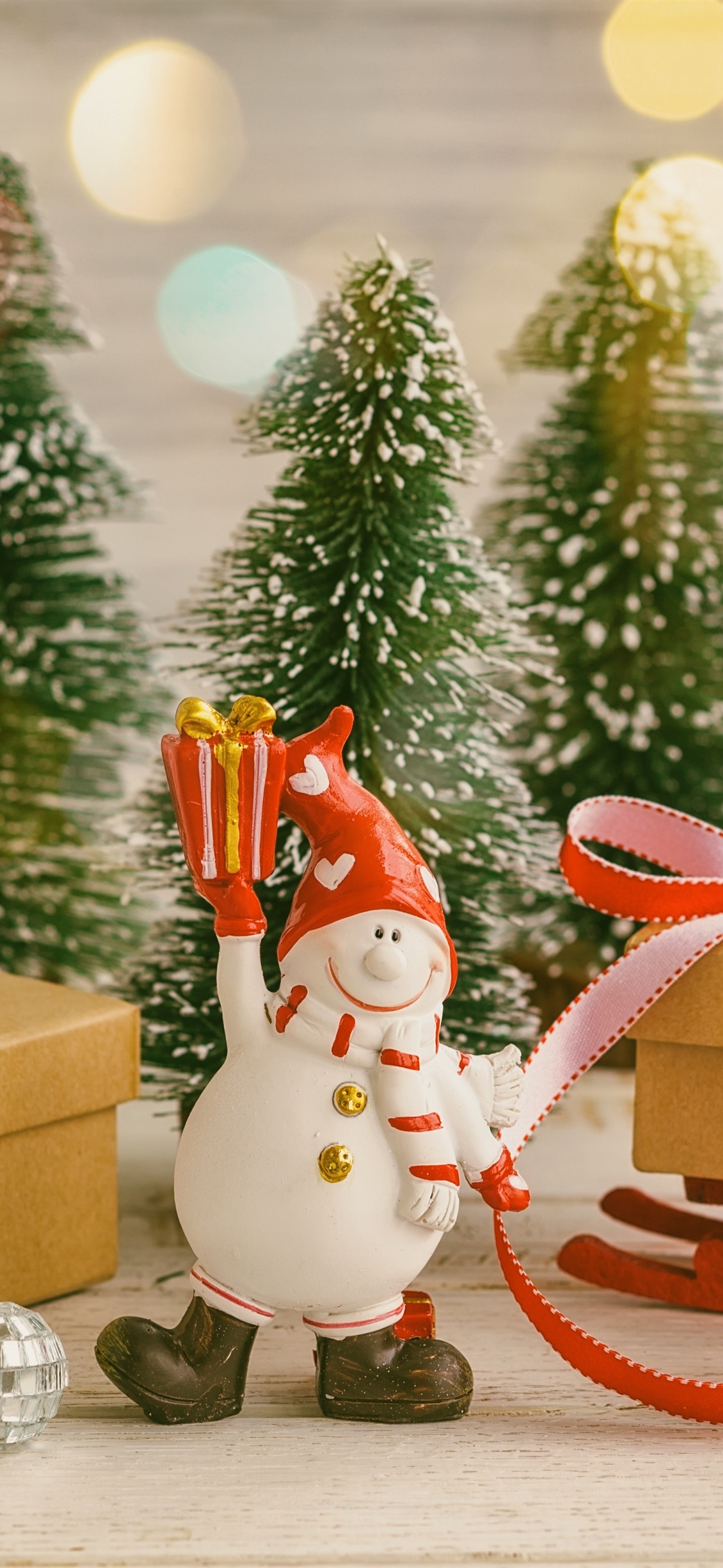 Gift Snowman Toy Christmas Trees 1125x2436 Iphone Xs X