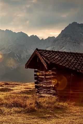 iPhone Wallpaper Grass, mountains, sun rays, wood hut, morning