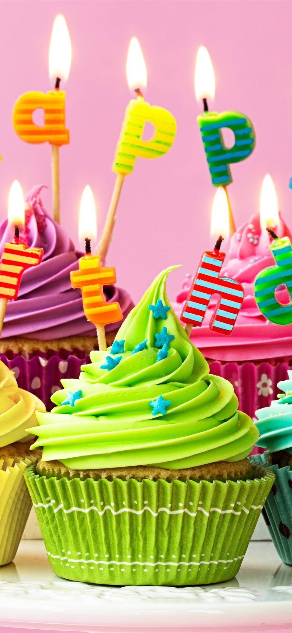 Happy Birthday Candles Fire Colorful Cupcakes 1125x2436 IPhone XS
