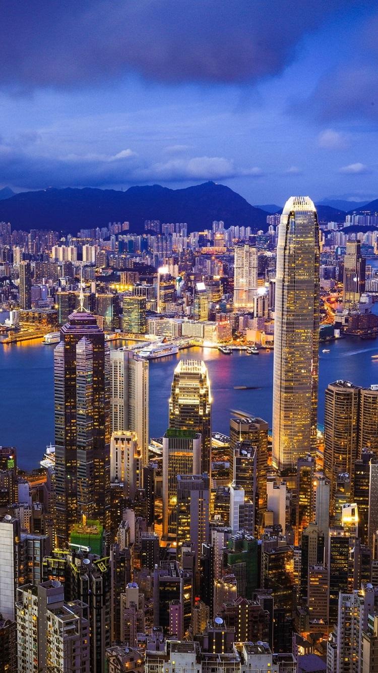 Hong Kong Skyline City Night Skyscrapers Lights