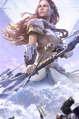 iPhone Papéis de Parede Horizon: Zero Dawn, arqueiro, garota, jogos PS4
