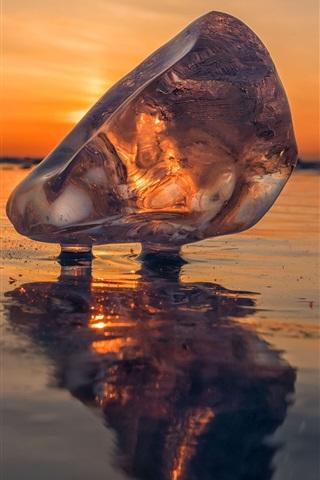 iPhone Wallpaper Ice crystal, lake, Baikal