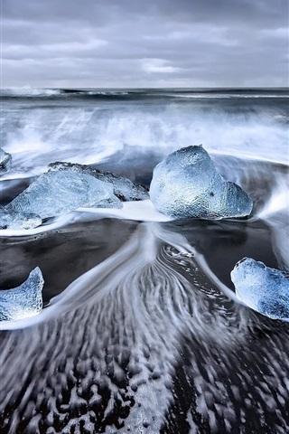 iPhone Wallpaper Iceland, Laguna, sea, ice