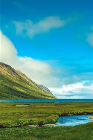 iPhone Wallpaper Iceland, beautiful nature landscape, mountains, grass, sea, clouds
