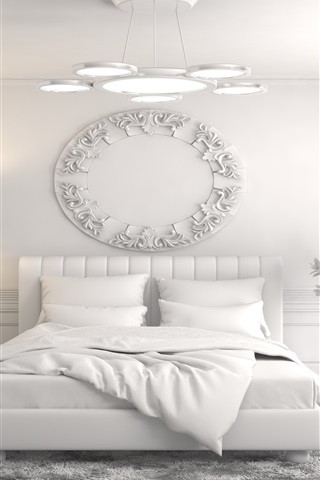 iPhone Wallpaper Interior design, bedroom, bed, white style