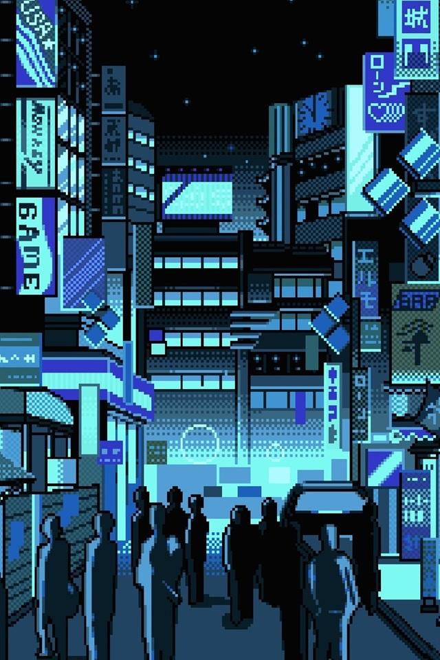 Japan City Street Pixel Art 640x960 Iphone 4 4s Wallpaper