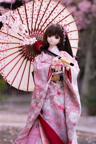 iPhone Wallpaper Japanese style doll girl, kimono, umbrella, sakura bloom